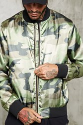 Forever 21 Satin Camo Print Bomber Jacket Olive Taupe