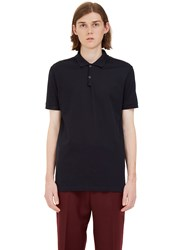 Lanvin Contrast Ribbon Polo Shirt Navy