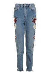 Topshop Moto Floral Embroidered Mom Jeans Blue