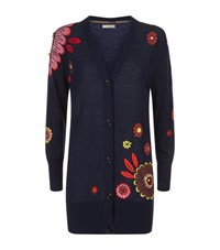 Burberry Embroidered Flower Cardigan Female Navy