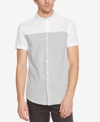 Kenneth Cole New York Men's Colorblocked Short Sleeve Shirt White