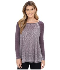 Allen Allen Raglan Tunic Eggplant Women's Long Sleeve Pullover Purple