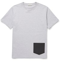 Balenciaga Leather Trimmed Cotton Jersey T Shirt Light Gray
