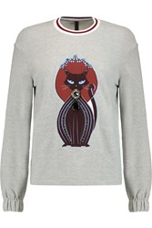 Mother Of Pearl Baley Appliqued Cotton Jersey Sweatshirt Gray