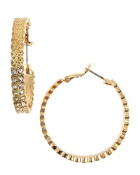 Rj Graziano R.J. Graziano Crystal Leaf Motif Hoop Earrings