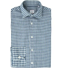Slowear Gingham Cotton Chambray Shirt Navy