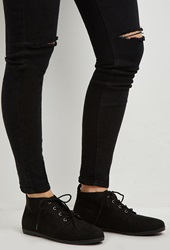 Forever 21 Faux Suede Low Top Booties Black
