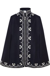 Vilshenko Ruby Embroidered Wool Cape Navy