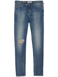Fat Face Slim Dirty Washed Rip Repair Jeans Denim