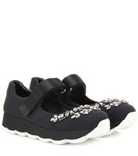 Prada Embellished Scuba Sneakers Black