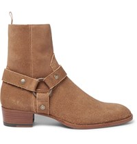Saint Laurent Suede Harness Boots Brown