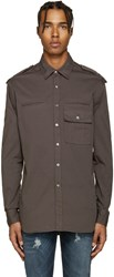 Balmain Pierre Grey Epaulet Shirt