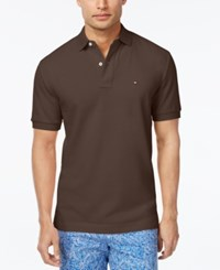 Tommy Hilfiger Men's Custom Fit Ivy Polo Coffee Bean