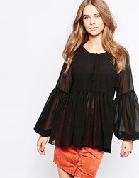 Minimum Moves Pleated Hem Blouse Black
