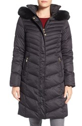 Ellen Tracy Women's Quilted Down Coat With Genuine Fox Fur Trim