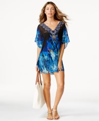 Miraclesuit Beaded Animal Print Caftan Cover Up Women's Swimsuit