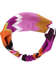Missoni Zig Zag Knit Headband Pink And Purple