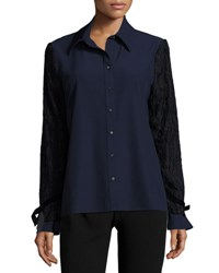 Alberto Makali Lace Overlay Sleeve Button Front Top Navy