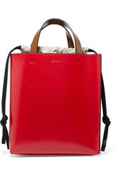 Marni Museo Color Block Leather Tote Red