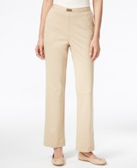 Alfred Dunner Madison Park Collection Belted Pull On Straight Leg Pants Stone