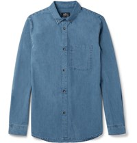 A.P.C. Button Down Collar Denim Shirt Blue