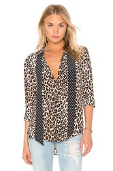 Equipment Kate Moss For Slim Signature Cheetah Print Tie Neck Blouse Black