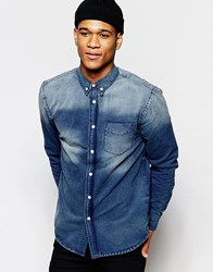Hoxton Denim Distressed Navy Denim Stock Shirt Navy