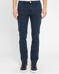 M.Studio Navy Noa Fitted Cotton Chinos