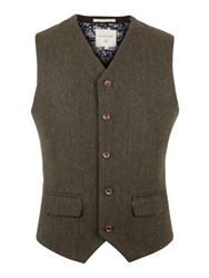 Racing Green Powell Herringbone Waistcoat Dark Green