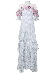 Peter Pilotto Floral Applique Long Dress Multicolour