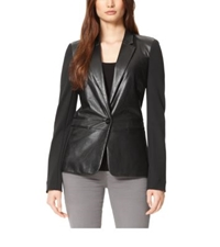 Michael Kors Ponte Sleeve Leather Blazer Black