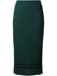 Muveil Ribbed Straight Skirt Green