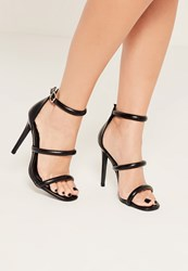 Missguided Black Three Strap Barely There Heeled Sandals
