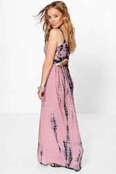 Boohoo Charlotte Coin Back Tie Dye Maxi Dress Multi