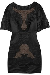 Temperley London Angeles Embroidered Cotton And Silk Blend Mini Dress Black