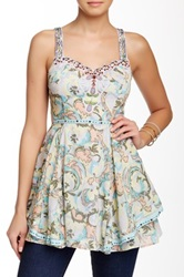 Chaudry Printed Sequin Sweetheart Tank Blue