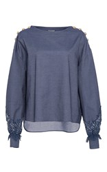 Alexis Mabille Chambray Lace Bateau Top Blue