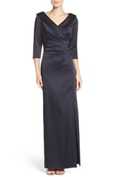 Tahari Women's Portrait Collar Satin Gown