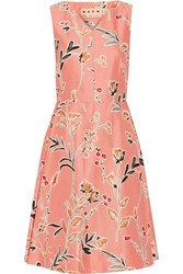 Marni Floral Print Cotton And Silk Blend Dress Pink