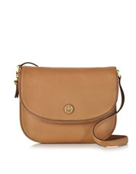 Tory Burch Robinson Tiger Eye Pebbled Leather Messenger Bag Brown