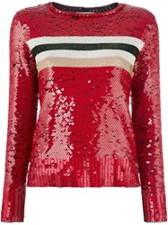 Aviu Striped Sequinned T Shirt Red