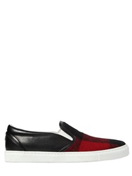 Dsquared Plaid And Leather Slip On Flats Red Black