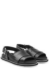Jil Sander Leather Sandals With Buckled Back Strap Black