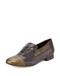 Sesto Meucci Lavena Python Print Leather Flat Gray Green