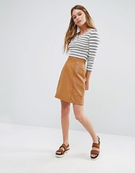 Oasis Patched Suedette Skirt Tan