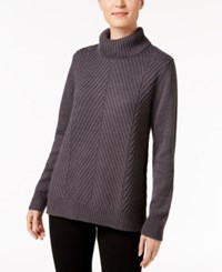 Karen Scott Ribbed Turtleneck Sweater Only At Macy's Charcoal Heather