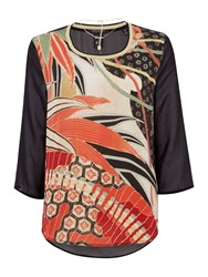 Maison Scotch Contrast Print Sheer Back Top With Necklace Black Multi