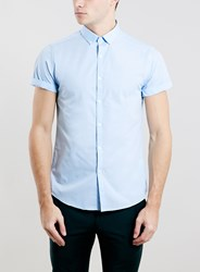 Topman Light Blue Button Down Short Sleeve Smart Shirt