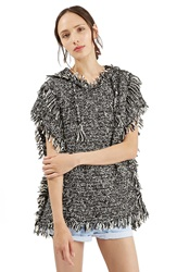 Topshop Short Sleeve Hooded Poncho Black Multi