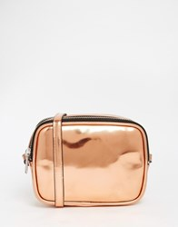 Monki Bronze Metallic Cross Body Bag Copper